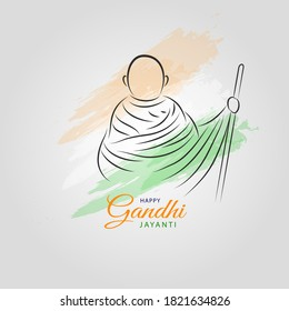 2 October Happy Gandhi Jayanti Abstract sketch of Gandhi Ji Lineart Vector illustraion with Indian Flag Tri colors for Gandhi Jayanti wishes.