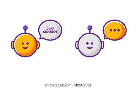2 Orange and grey smiling cartoon style funny talking chatbots icons
