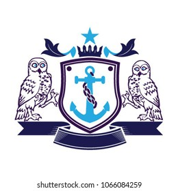 2 Owls anchor Crest Emblem Family logo brand identity.