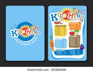 2 pages Kids menu design with vegetable for restaurant. Vector illustration