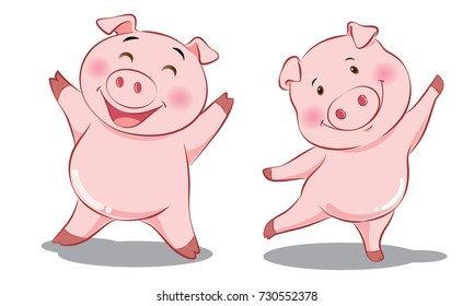 2 pink pigs are happy - smile and dance