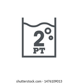 2 pint sign (pt mark) estimated volumes gallons (gal) Vector symbol gal packaging, labels used for prepacked foods drinks different gallons and pints. 2 pt vol single icon isolated on white background