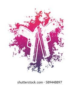 2 pistols on grunge splash, two crossed guns, t-shirt print with handguns