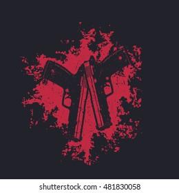 2 pistols on red splash, two crossed guns, t-shirt design