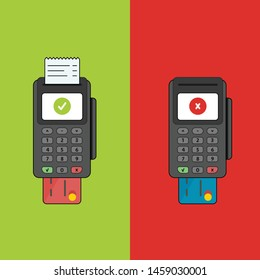 2 POS terminal with inserted credit card and printed receipt