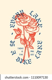 2 roses vintage typography bicycle print - every lane is a bike lane