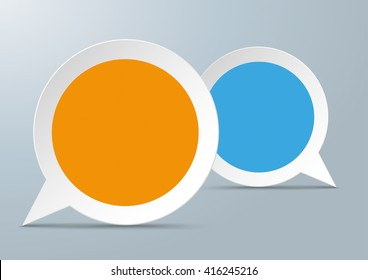 2 round speech bubbles with colored centre on the gray background. Eps 10 vector file.