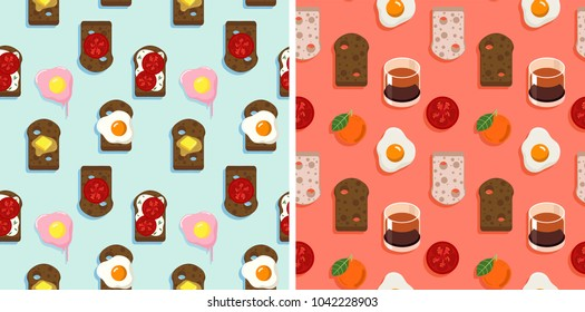 2 Seamless pattern of bread, spread, fired eggs, kahlua, tomato and orange. sweet retro pastel color palette, flat simple minimal vector