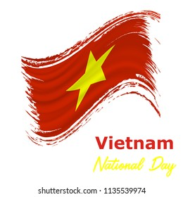 2 September. Vietnam Independence Day background in national flag color theme. Gabon National Day. Celebration banner with waving flag. Vector illustration