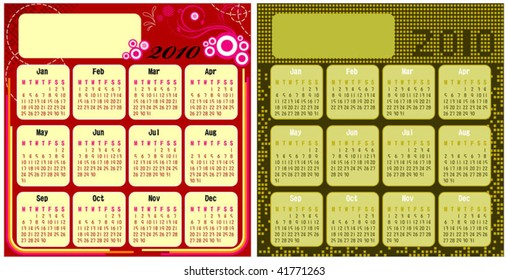 2 set calendar with red abstract and gold boxes background