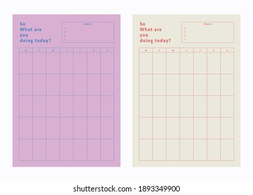 2 Set of minimalist today and monthly planners. Daily, weekly, monthly planner template. Cute and simple printable to do list. Bullet Journal. Digital Planner. Realistic vector illustration.