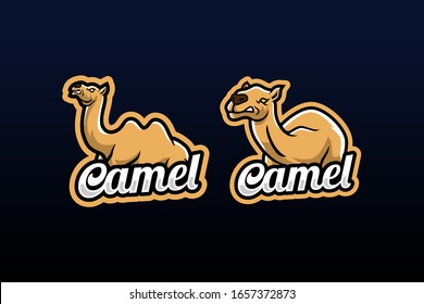 2 sets of camels with angry expressions  suitable for team logo or esport logo  and mascot logo, or tshirt design