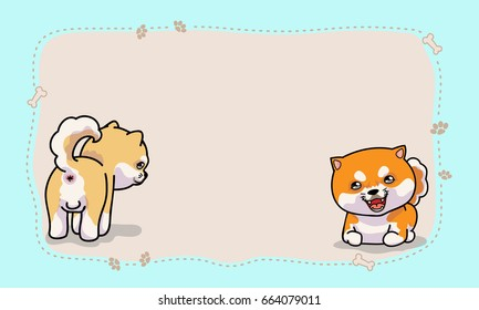 2 Shiba inu with copy space for your text, vector illustration