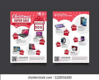 2 sides flyer template for Christmas Sale Promotion with Sample Product Images, for A4 paper size with 3mm. bleed area, CMYK Color, Free Font Used, EPS 10