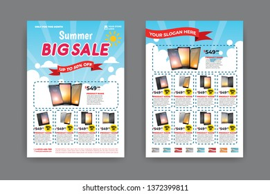 2 sides flyer template for Summer Sale Promotion with Sample Product Images, for A4 paper size with 3mm. bleeds area, CMYK Color, Free Font Used, EPS 10