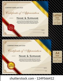2 sizes of Certificate of Appreciation with laurel wreath wax seal and ribbon