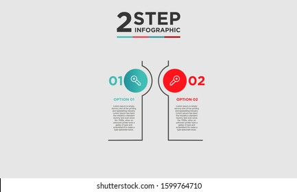 2 step infographic element. Business concept with two options and number, steps or processes. data visualization. Vector illustration.