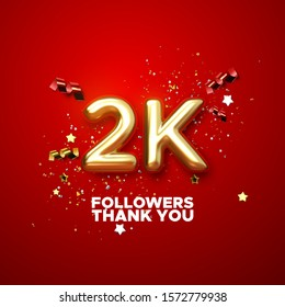 2 thousand. Thank you followers. Vector 3d illustration for blog or post design. 2K golden sign with confetti on red background. Social media festive banner.