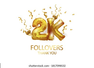 2 thousand. Thank you, followers. 3D vector illustration for blog or post design. 2K gold sign made of foil balloons with confetti on a white background. Holiday banner in social networks.