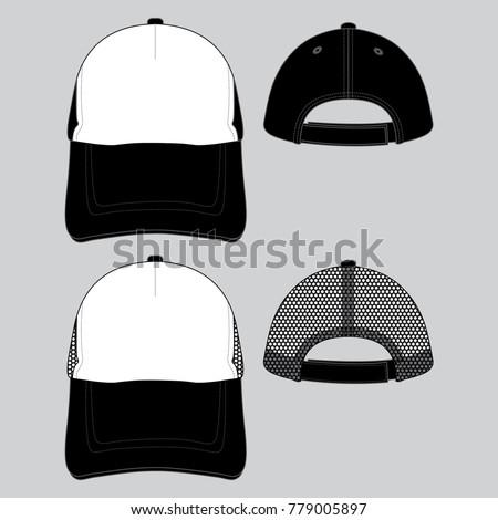 2 trucker baseball caps template black white stock vector royalty