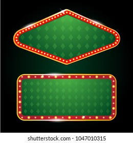 2 vectors casino banner sign green poker carpet design