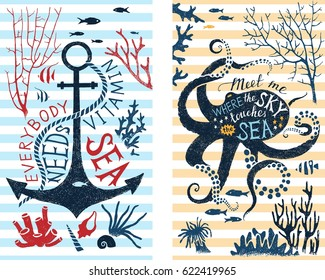 2 vertical banners with summer quotes about sea in silhouettes of anchor and octopus. Great summer design