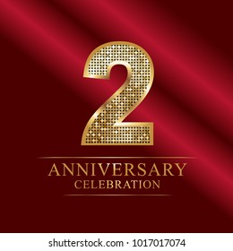 2 year anniversary celebration logotype red background.