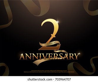 2 year anniversary celebration logotype template. 2nd logo with ribbons on black