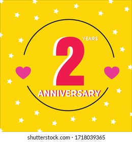2 year anniversary celebration, vector design for celebrations, invitation cards and greeting cards