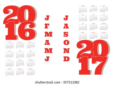 2 year calendars for 2016 & 2017