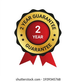 2 year guarantee badge, label illustration, Extended warranty Guarantee Brand,1 year warranty, emblem, label, logo