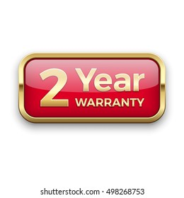 2 year warranty golden badge, vector