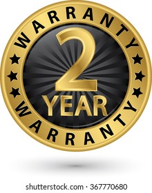 2 year warranty golden label, vector illustration