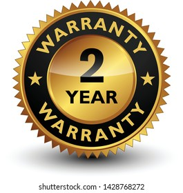 2 Year warranty golden seal, stamp, badge, stamp, sign, label isolated on white background.