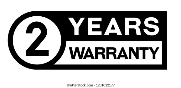 2 year warranty stamp on white background. Sign, label, sticker.