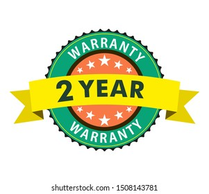 2 year warranty sticker design with badge. Guarantee stamp with colorful ribbon.