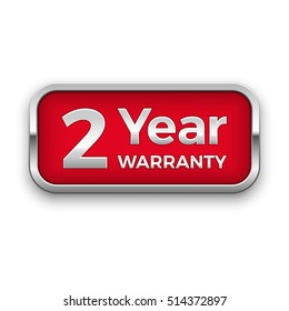 2 year warranty vector badge, silver