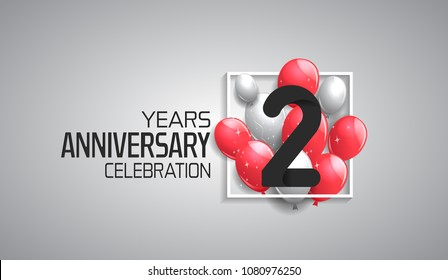 2 years anniversary celebration for company with balloons in square isolated on white background