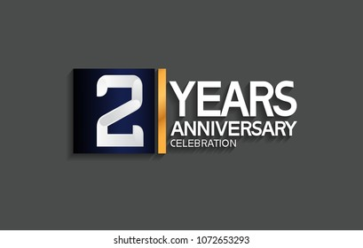 2 years anniversary celebration design with blue square and golden line isolated on gray background