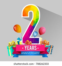 2 Years Anniversary Celebration Design, with gift box and balloons, red ribbon, Colorful polygonal logotype, Vector template elements for your birthday party.