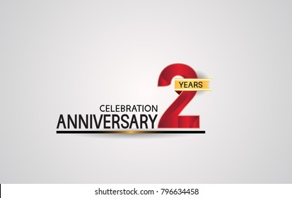 2 years anniversary celebration design with elegance red color and golden ribbon isolated on white background for celebration event