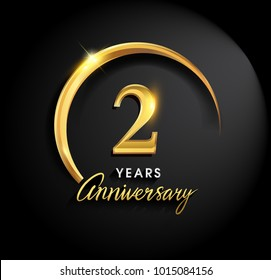 2 years anniversary celebration. Anniversary logo with ring and elegance golden color isolated on black background, vector design for celebration, invitation card, and greeting card