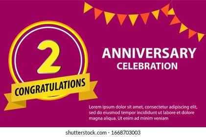 2 years anniversary celebration logo vector template design illustration