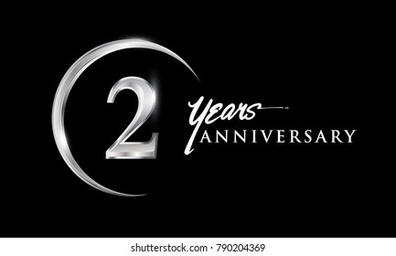 2 years anniversary celebration. Anniversary logo with silver ring elegant design isolated on black background, vector design for celebration, invitation card, and greeting card