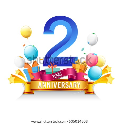 2 Years Anniversary Celebration Logo Birthday Vector Illustration With Gift Box And Balloons