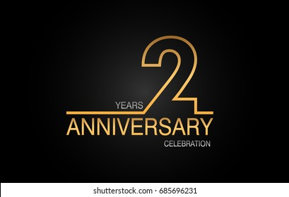 2 years anniversary celebration logotype. anniversary logo with golden and silver color isolated on black background, vector design for celebration, invitation card, and greeting card