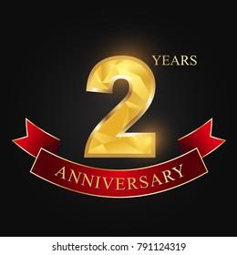 2 years anniversary celebration logotype black background.