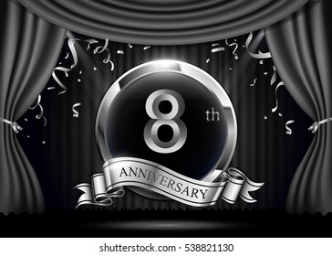 2 years anniversary celebration. with silver ribbon. Curtain background and light shine.