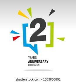2 Years Anniversary colorful white modern logo icon banner holiday illustration