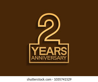 2 years anniversary design line style with square golden color for celebration event